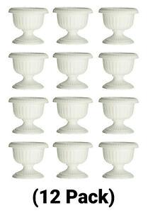12 Inch Plastic White Grecian Urn Planter Flower Pot
