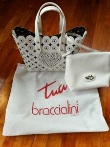 White Italian leather purse/handbag with small inner purse.