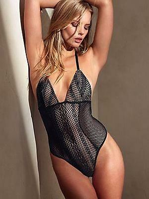 $58.00 Victorias Secret TEDDY LINGERIE  PLUNGE FISHNET LACE-BLACK  M/M