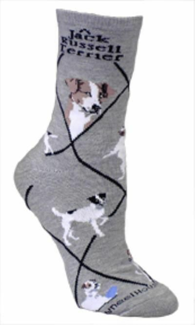 Adult Size Medium JACK RUSSELL TERRIER Adult Socks/Grey Made in USA