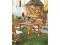 Elegant Italian square teak table and 4 chairs with cushions