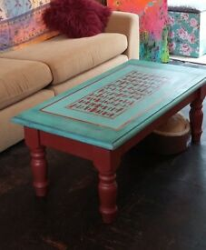 Coffee table, hand painted & stencilled pine