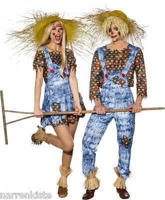 Hosen Kostüm Party (Vogelscheuche Kostüm Kleid Hexe Party Disco Latzhose Vogelscheuchenkostüm Hut)