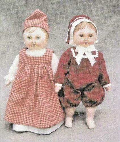 "10.5""CLOTH SOFT SCULPTURE ART BOY GIRL TODDLER DOLL DRESS HAT/ROMPER PATTERN"