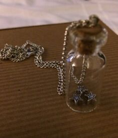 Large Jar Necklace with Three Silver Stars