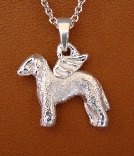 Sterling Silver Bedlington Terrier Angel Pendant