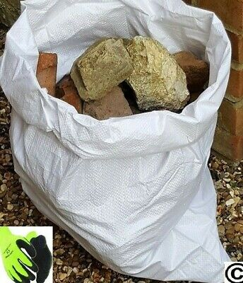 20 x Tough Woven Polypropylene Rubble Sacks Bag + Pair Buliders Thermal Gloves