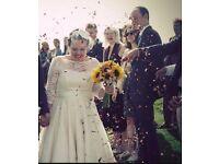Beautiful Candy Anthony size 16 tea length Nottingham lace wedding dress for sale - £800