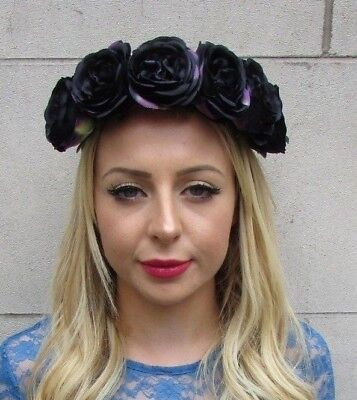 Black Rose Flower Headband Festival Boho Hair Crown Garland Halloween Goth 6152