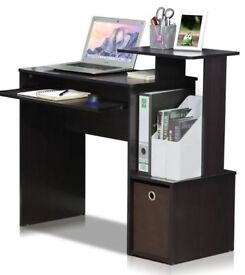 Boxed computer work station black/brown