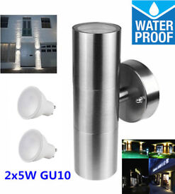 New Modern Waterproof Stainless Steel Up Down Wall Light + 2 Pcs x 5W GU10 Lamps Bulbs Outdoor