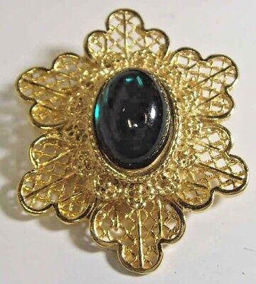 1950s vintage gold tone metal filigree six point Jewish star brooch Judaic 45290