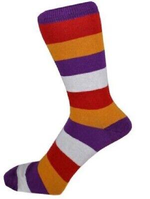 STRIPED/STRIPEY Mens/Unisex MUSTARD/PURPLE/WHITE/RED Socks UK 6-11 stripy/funky
