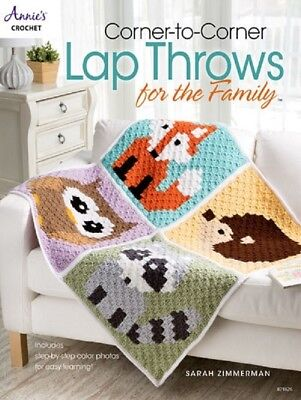 Crochet Pattern Book CORNER To CORNER LAP THROWS For The Family ~ 5 Designs - Family Crochet Pattern