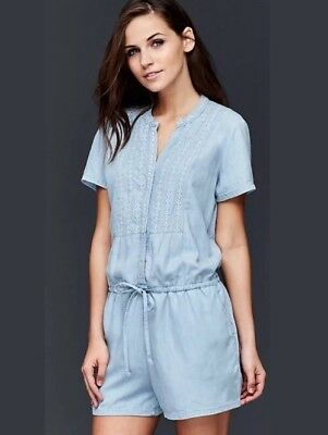 NWT Gap Women's Soft Tencil Embroidered Short Sleeve Romper Sz XL Light Indigo Gap Short Sleeve Romper