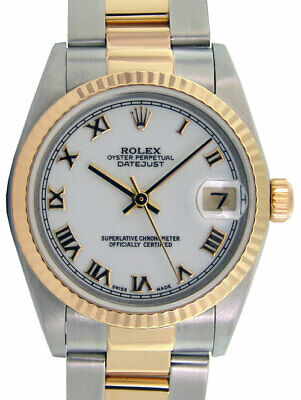 ROLEX 18kt Gold & Stainless DateJust White Roman Dial 16233 SANT BLANC