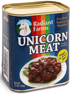 Radiant Farms CANNED UNICORN MEAT! Great gag gift plush stuffed parts can joke on Rummage