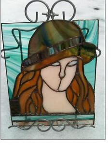 """Stained Glass Girls Face Hat -- Hand Made -- Approx. 10"""" high"""
