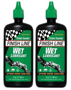 Finish-Line-Wet-Bike-Bicycle-Cycle-Chain-Lube-Oil-4oz-120ml-x-2-FREE-POSTAGE