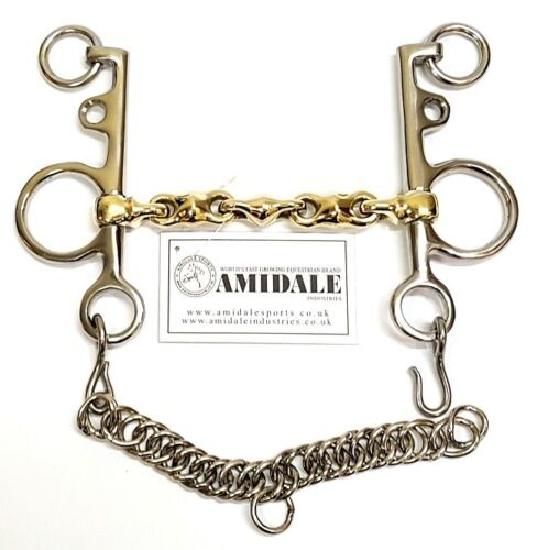 AMIDALE WATERFORD PELHAM WITH LOZENGE CHAIN COPPER MIX GERMAN SILVER HORSE BIT