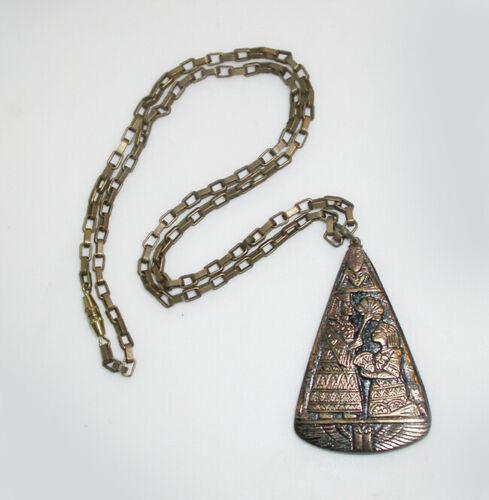 RARE MYSTICAL 1930s ART DECO Egyptian Goddess Black Pressed GLASS NECKLACE!