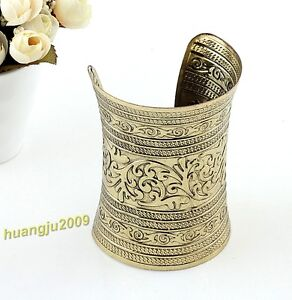 1 Pc New Style Cute Long Wide Vintage Metal Cuff Bracelet Bangle About 10 CM