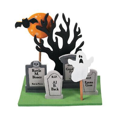 3D Halloween Graveyard Scene Craft Kit for Kids Self-Adhesive Fall ABCraft