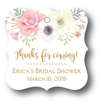24 Boho Floral Bridal Shower Thank you! Favor Tag - Personalized name and date
