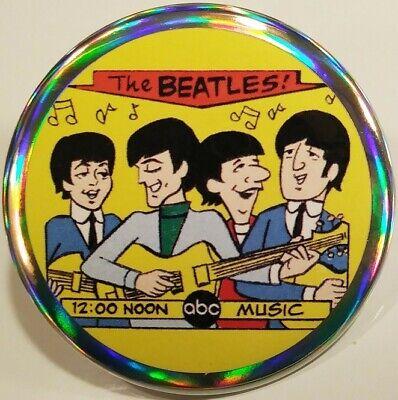 Beatles PIN - ABC Cartoon HOLOGRAM BUTTON George Harrison Paul McCartney Rare