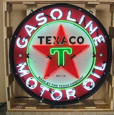 "Giant Texaco Gasoline 36"" Round Neon Sign Motor Oil 9TXOIL  w/ Free Shipping"