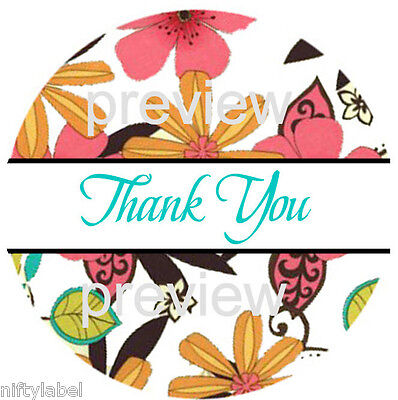 Flower Power Design 4 Thank You Sticker Labels - Laser Printed