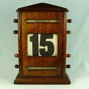 HUGE VINTAGE DECO ERA OAK PERPETUAL CALENDAR DESK TOP ANTIQUE c1910