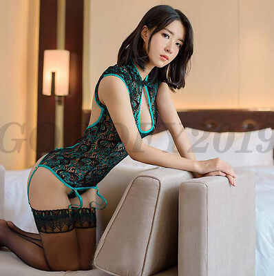 Costume Chinese (Hot Sexy Chinese 3D Flowers Twinkle Style Lingerie Silk Babydoll Dress)