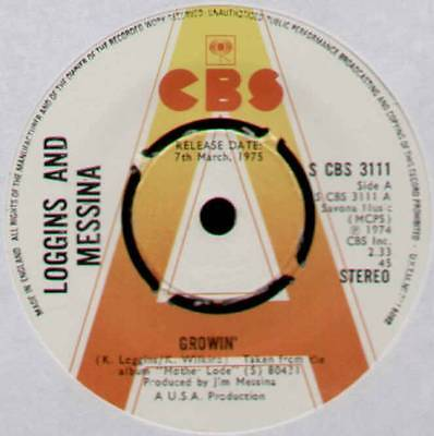 "KENNY LOGGINS & JIM MESSINA ~ GROWIN' ~ 1975 UK ""PROMO"" 7"" SINGLE ~ CBS 3111"
