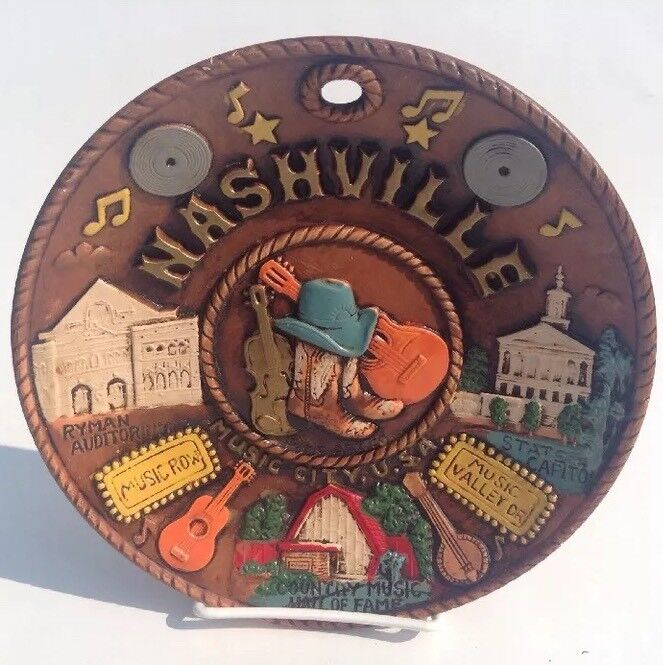 """Vintage Nashville Tennessee Souvenir 8"""" Plate Music City USA  Made In Japan"""