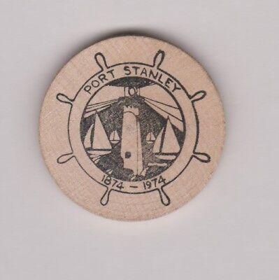 1974 Wooden Nickel Port Stanley Ontario 1874-1974 Lighthouse