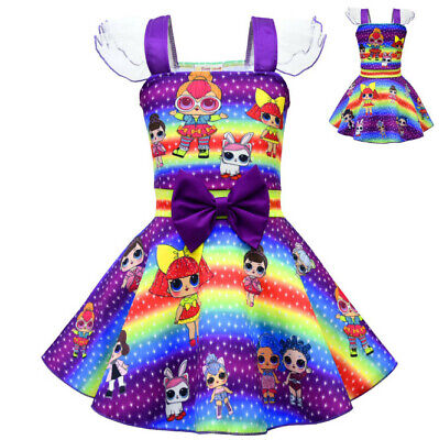 Girls lol Surprise Doll Fancy Dress Party Pageant Holiday Cosplay Cotume Dress (Fancy Girls Dress)