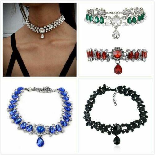 Jewellery - UK Women Ladies Crystal Rhinestone Choker Collar Necklace Jewellery 5 Colours