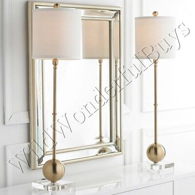 Sphere Candlestick Buffet Table Lamp Brushed Gold 35H Column Drum Lampshade New