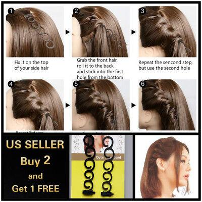 2Pcs Side Hair Styling French Braid Clip Magic Stick DIY Bun Maker Tool
