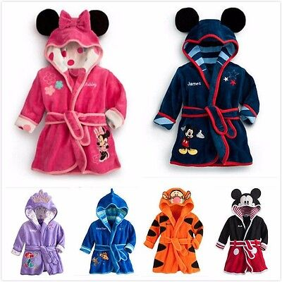 Baby clothes pajamas kids boy girl Flannel bathrobe  sleepwear cartoon пижама - Kids Bathrobe