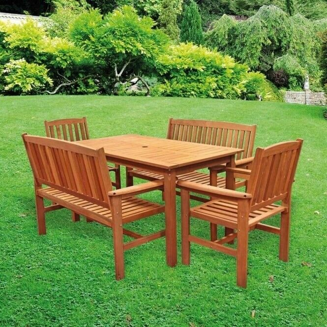Solid Hardwood 5 piece Garden Set Table and chairs   in ...