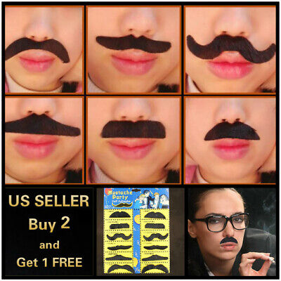Mustache Halloween Costume (12pc Self Adhesive Stick On Fake Beards Moustache Stylish Halloween)