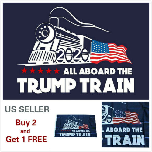 3x5 Ft Trump 2020 All Board the Trump Train President Donald MAGA Flag US Train