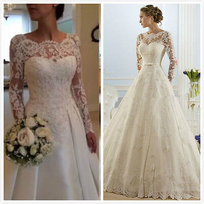 Long Sleeves White Ivory Wedding Dress Bridal Ball Gown Stock Size 6 8 10 12 14