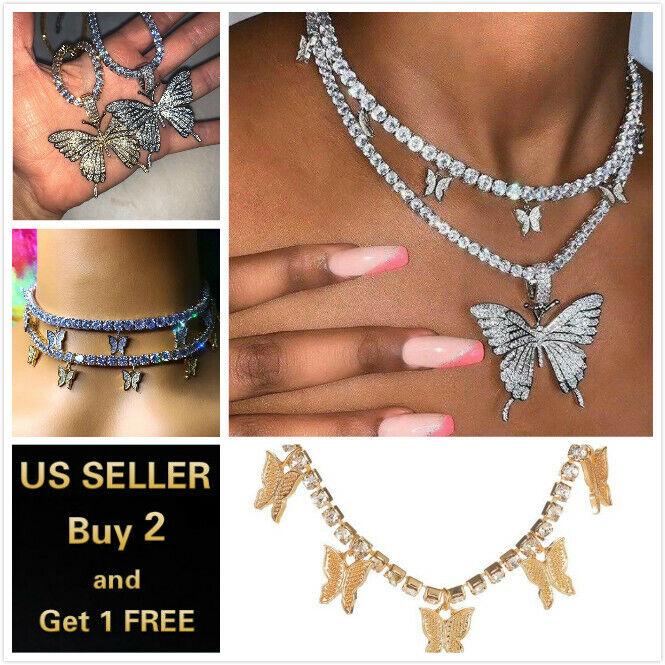 Jewellery - Fashion Butterfly Pendant Necklace Rhinestone Sweater Chain Women Crystal Choker