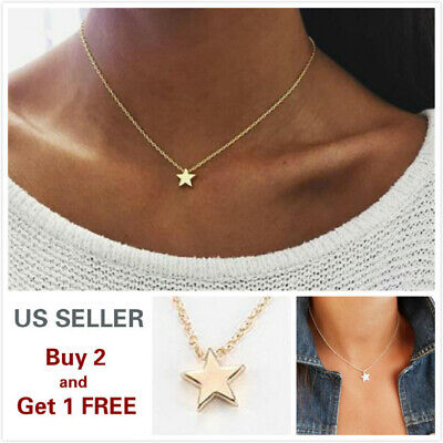Simple Minimalist Choker Dainty Silver Gold Chain Pendant Necklace Star Chain Necklace Free Ship