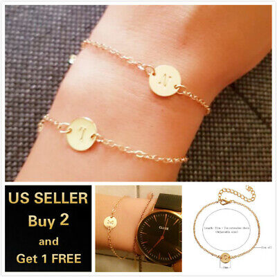 26 Initial Letters Circle Gold Charm Bracelet Bangle Love Bridesmaid Jewelry - Letter Bracelets