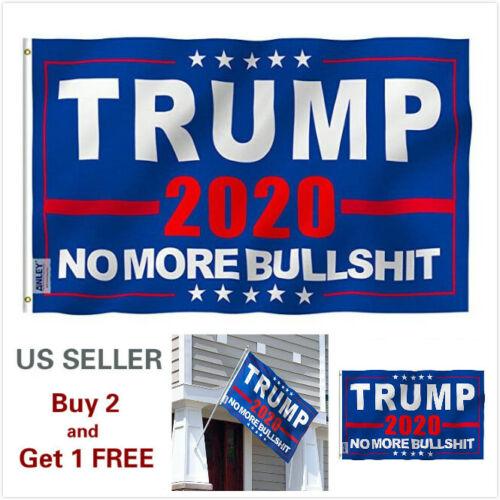 3x5 Ft Trump 2020 No more BS President Donald MAGA Flag US Blue C