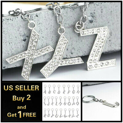 Bling Crystal Alphabet Keyring A-Z Initials Letter Key Ring Silver Key Chain